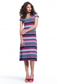 Striped midi dress with cap sleeve Joseph Saba